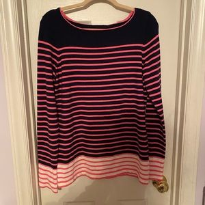 Lilly Pulitzer Navy and Hot Pink Striped Sweater